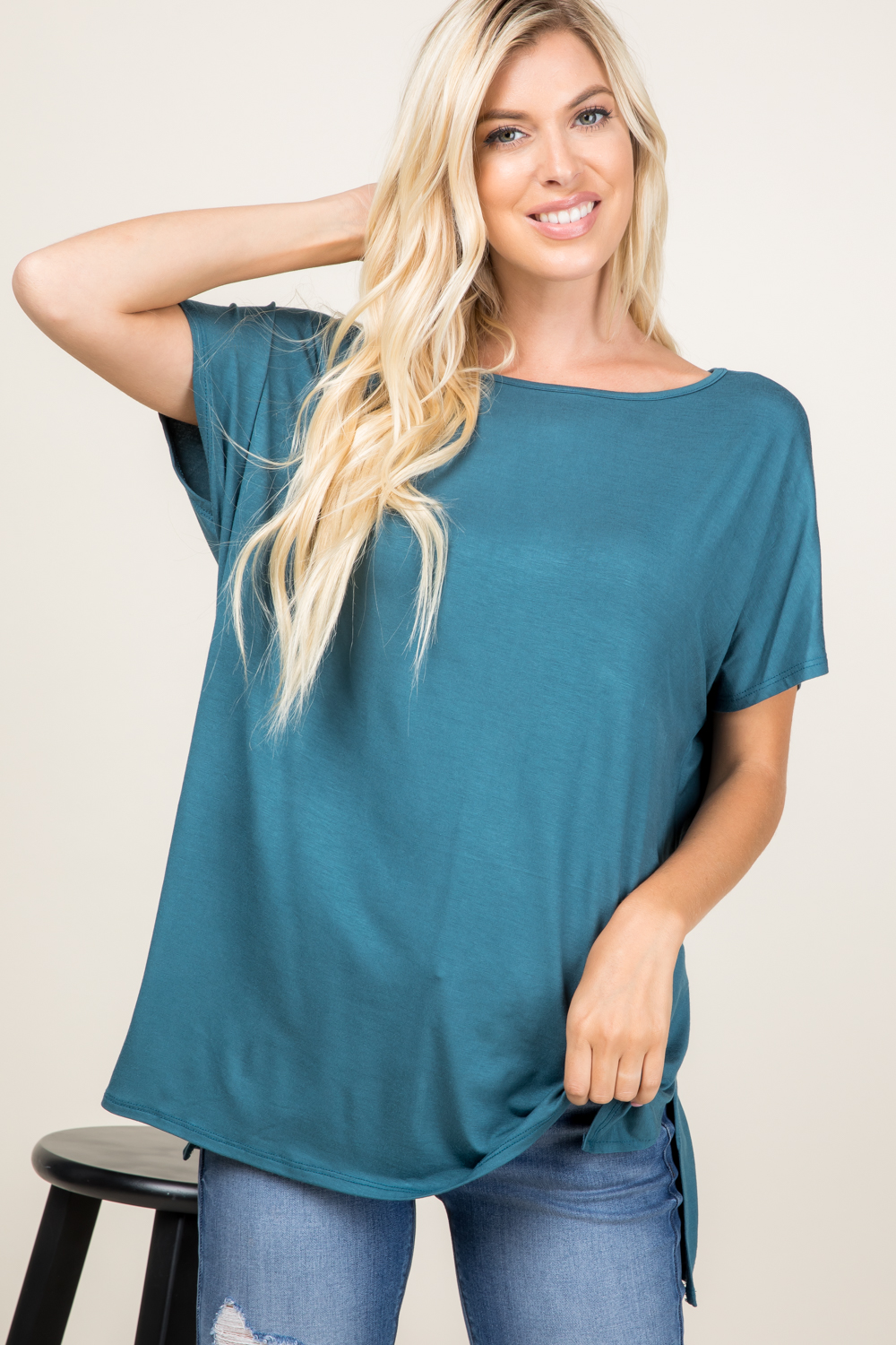 10130SS07<br/>SOLID PIKO STYLE SHORT SLEEVE TOP